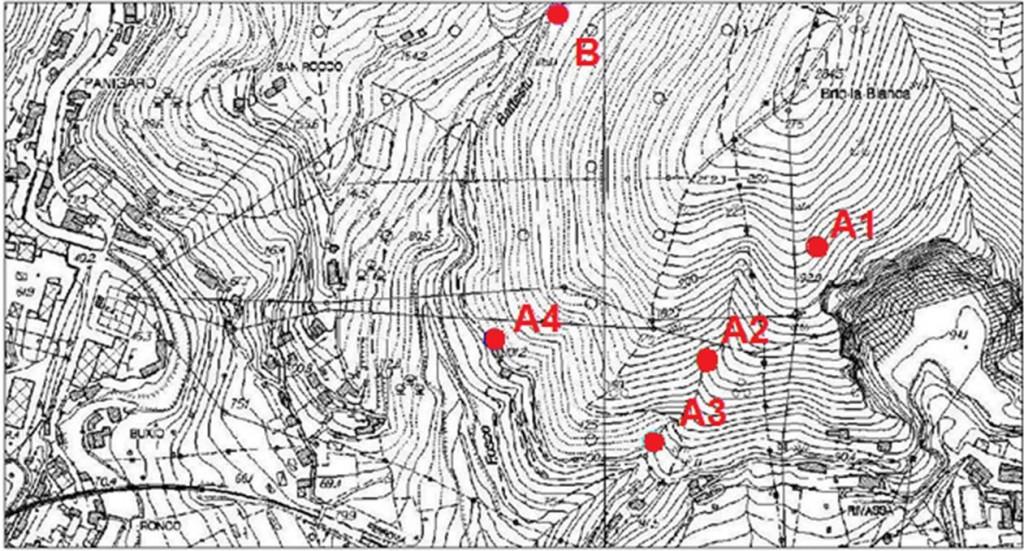 L'area studiata (stralcio CTR Liguria 1:5000): •A: presidio tedesco, composto da: oA1: Casamatta di Bric la Bianca; oA2: Riparo alto di via Rivassa; oA3: Riparo basso di via Rivassa; oA4: Riparo del pollaio; • B: Riparo presso il Rio Battestu.